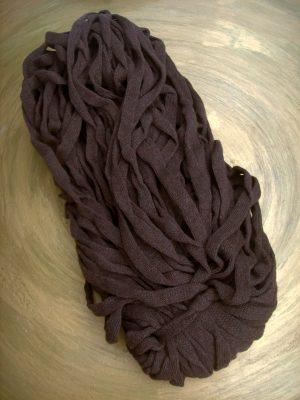 © die-maschen-zum-glueck.de | Baumwoll Bändchengarn Dunkelbraun