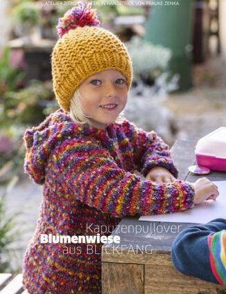 Kinder Kapuzenpullover aus der Blickfang Farbe Blumenwiese von Atelier Zitron | Anleitung gratis bei Garnkauf